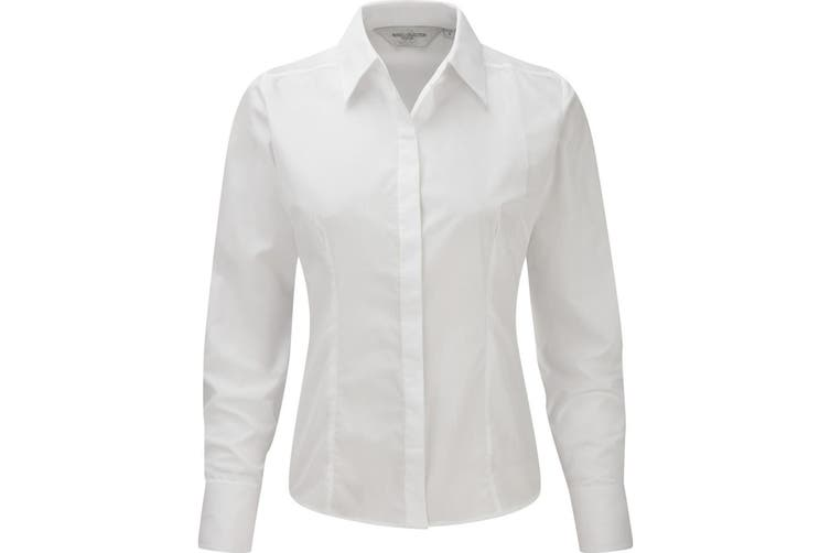 Russell Collection Ladies/Womens Long Sleeve Poly-Cotton Easy Care Fitted Poplin Shirt (White) (S)