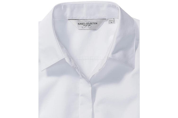 Russell Collection Ladies/Womens Long Sleeve Poly-Cotton Easy Care Fitted Poplin Shirt (White) (2XL)