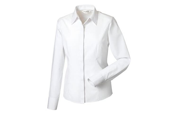 Russell Collection Ladies/Womens Long Sleeve Poly-Cotton Easy Care Fitted Poplin Shirt (White) (4XL)