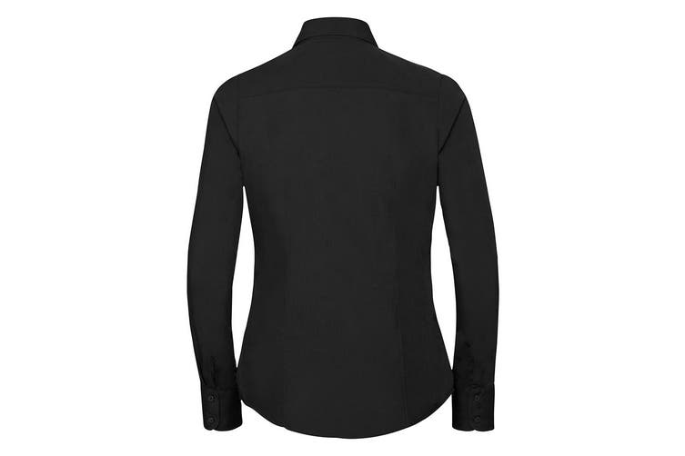 Russell Collection Ladies/Womens Long Sleeve Poly-Cotton Easy Care Fitted Poplin Shirt (Black) (L)