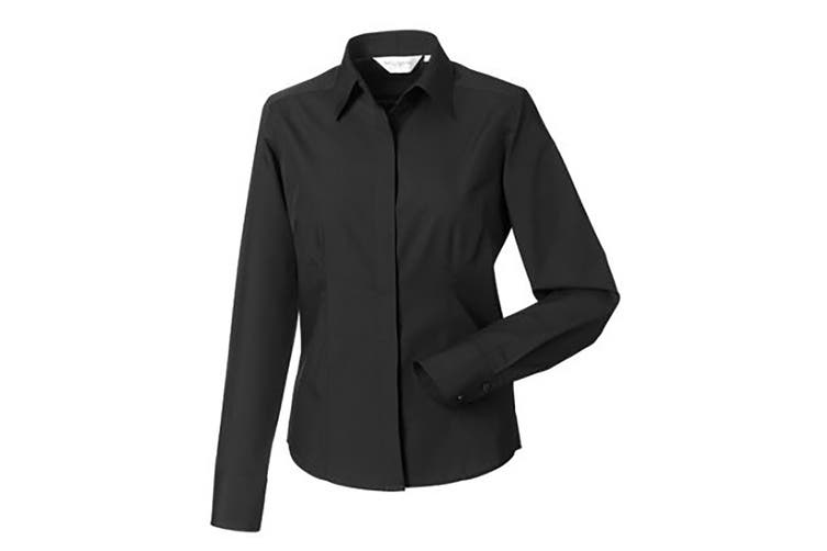 Russell Collection Ladies/Womens Long Sleeve Poly-Cotton Easy Care Fitted Poplin Shirt (Black) (4XL)