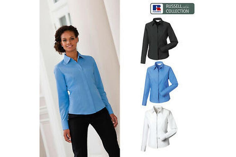 Russell Collection Ladies/Womens Long Sleeve Poly-Cotton Easy Care Fitted Poplin Shirt (Corporate Blue) (XS)