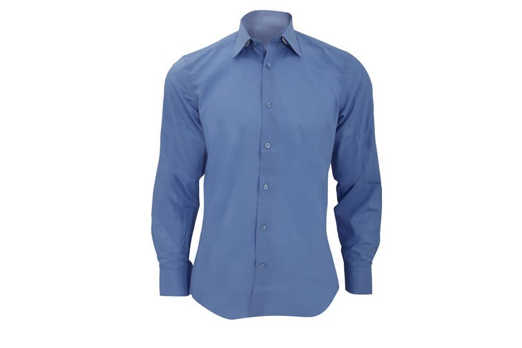 Russell Collection Mens Long Sleeve Poly-Cotton Easy Care Tailored Poplin Shirt (Corporate Blue) (XL)