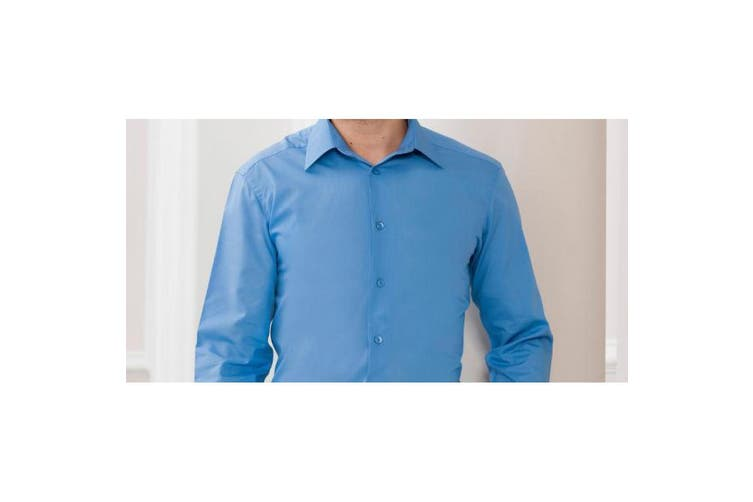 Russell Collection Mens Long Sleeve Poly-Cotton Easy Care Tailored Poplin Shirt (Corporate Blue) (2XL)