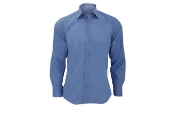 Russell Collection Mens Long Sleeve Poly-Cotton Easy Care Tailored Poplin Shirt (Corporate Blue) (3XL)