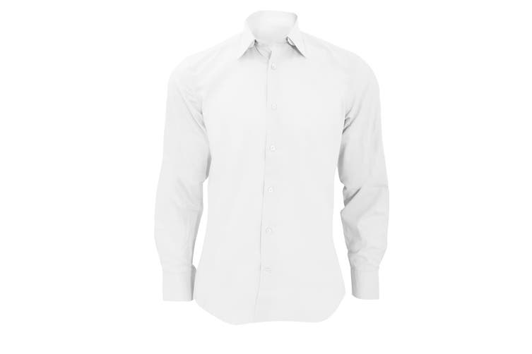 Russell Collection Mens Long Sleeve Poly-Cotton Easy Care Tailored Poplin Shirt (White) (M)