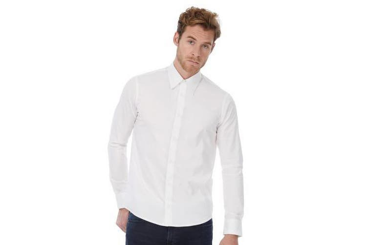 Russell Collection Mens Long Sleeve Poly-Cotton Easy Care Tailored Poplin Shirt (White) (L)