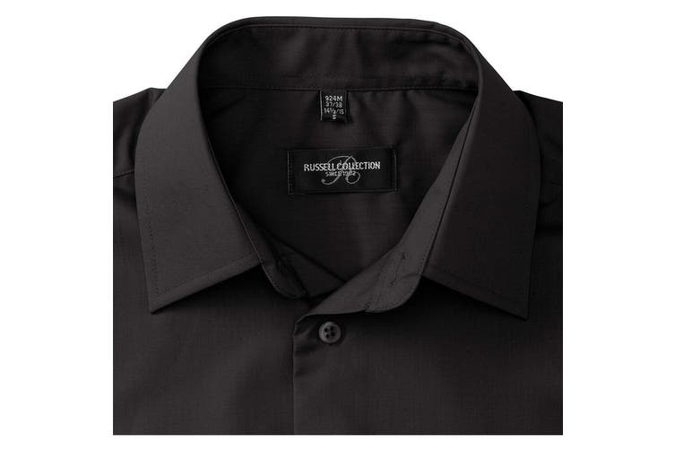 Russell Collection Mens Long Sleeve Poly-Cotton Easy Care Tailored Poplin Shirt (Black) (XL)