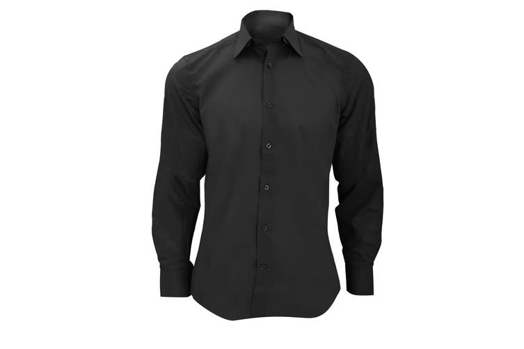 Russell Collection Mens Long Sleeve Poly-Cotton Easy Care Tailored Poplin Shirt (Black) (2XL)