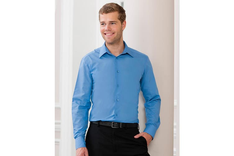 Russell Collection Mens Long Sleeve Poly-Cotton Easy Care Tailored Poplin Shirt (Corporate Blue) (S)