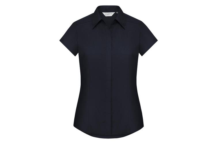 Russell Collection Ladies Cap Sleeve Polycotton Easy Care Fitted Poplin Shirt (French Navy) (2XL)