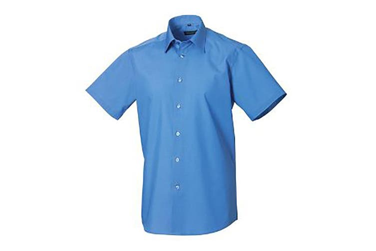 Russell Collection Mens Short Sleeve Poly-Cotton Easy Care Tailored Poplin Shirt (Corporate Blue) (L)