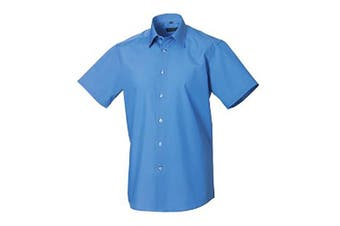 Russell Collection Mens Short Sleeve Poly-Cotton Easy Care Tailored Poplin Shirt (Corporate Blue) (4XL)