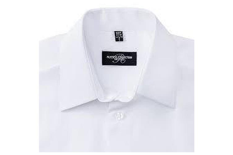 Russell Collection Mens Short Sleeve Poly-Cotton Easy Care Tailored Poplin Shirt (White) (4XL)