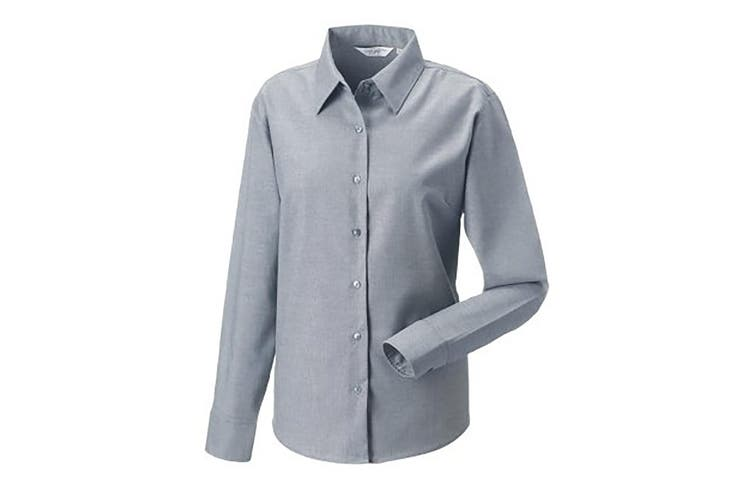 Russell Collection Ladies/Womens Long Sleeve Easy Care Oxford Shirt (Silver) (M)