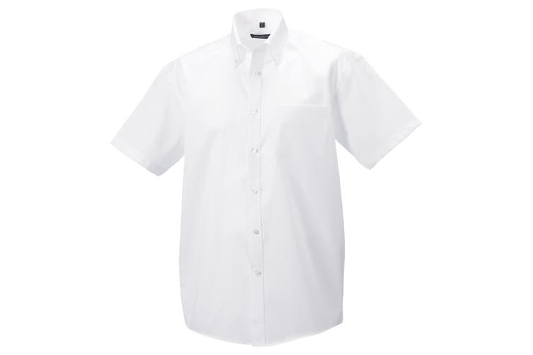 Russell Collection Mens Short Sleeve Ultimate Non-Iron Shirt (White) (16inch)