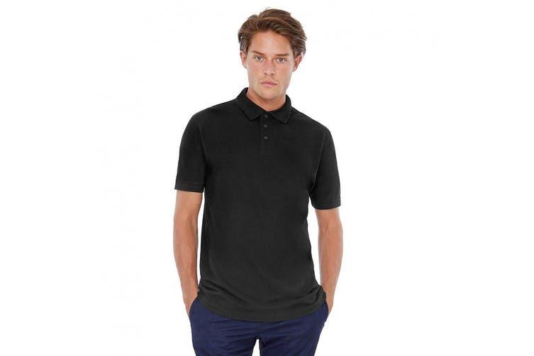 B&C Safran Mens Polo Shirt / Mens Short Sleeve Polo Shirts (Black) (S)
