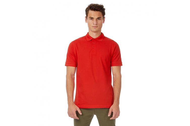 B&C Safran Mens Polo Shirt / Mens Short Sleeve Polo Shirts (Red) (S)