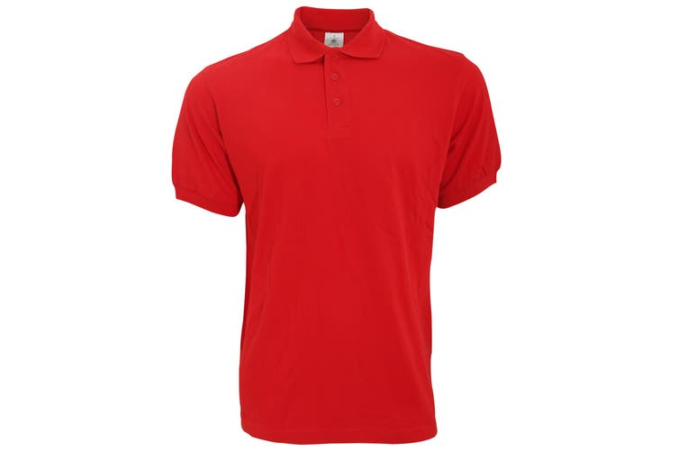 B&C Safran Mens Polo Shirt / Mens Short Sleeve Polo Shirts (Red) (L)