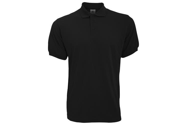 B&C Safran Mens Polo Shirt / Mens Short Sleeve Polo Shirts (Black) (M)