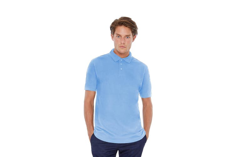 B&C Safran Mens Polo Shirt / Mens Short Sleeve Polo Shirts (Sky Blue) (L)