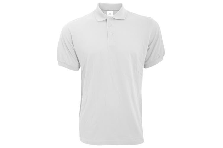 B&C Safran Mens Polo Shirt / Mens Short Sleeve Polo Shirts (White) (XL)