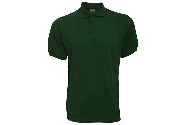 B&C Safran Mens Polo Shirt / Mens Short Sleeve Polo Shirts (Bottle Green) (XL)