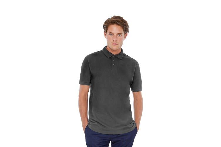 B&C Safran Mens Polo Shirt / Mens Short Sleeve Polo Shirts (Dark Grey) (XL)