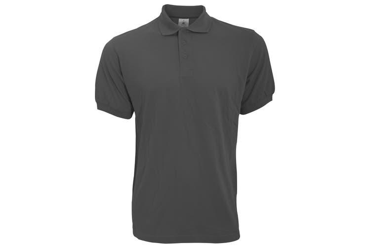B&C Safran Mens Polo Shirt / Mens Short Sleeve Polo Shirts (Dark Grey) (2XL)