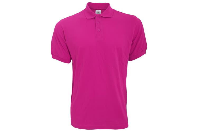 B&C Safran Mens Polo Shirt / Mens Short Sleeve Polo Shirts (Fuchsia) (S)