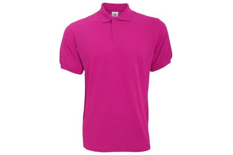 B&C Safran Mens Polo Shirt / Mens Short Sleeve Polo Shirts (Fuchsia) (XL)