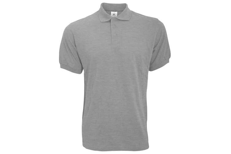 B&C Safran Mens Polo Shirt / Mens Short Sleeve Polo Shirts (Heather Grey) (S)