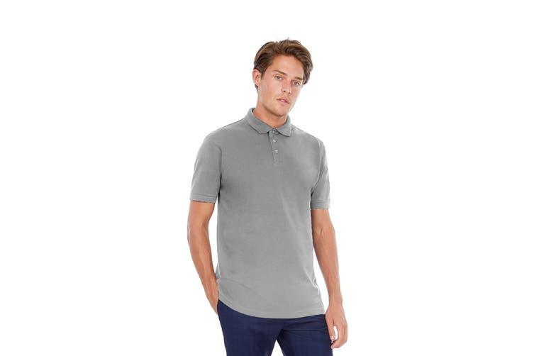 B&C Safran Mens Polo Shirt / Mens Short Sleeve Polo Shirts (Heather Grey) (L)