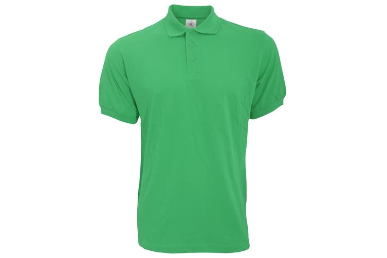 B&C Safran Mens Polo Shirt / Mens Short Sleeve Polo Shirts (Kelly Green) (L)