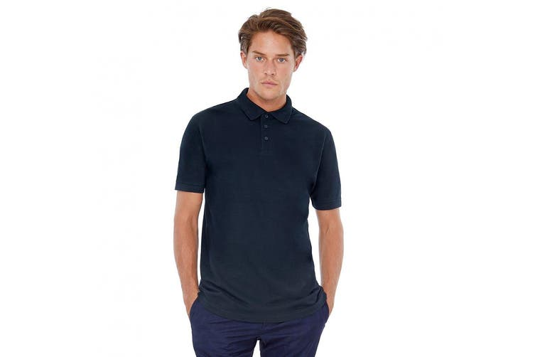 B&C Safran Mens Polo Shirt / Mens Short Sleeve Polo Shirts (Navy Blue) (XL)
