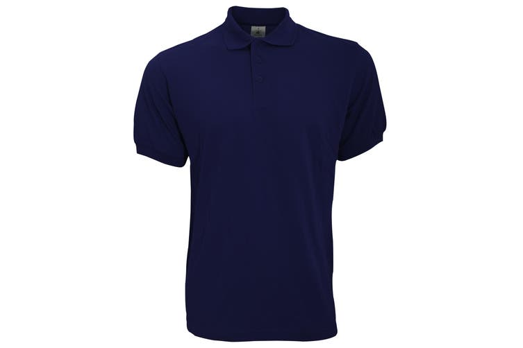 B&C Safran Mens Polo Shirt / Mens Short Sleeve Polo Shirts (Navy Blue) (2XL)