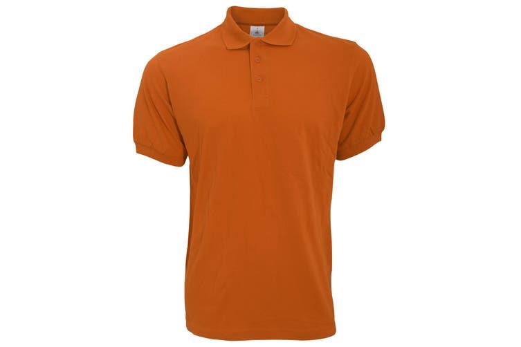 B&C Safran Mens Polo Shirt / Mens Short Sleeve Polo Shirts (Pumpkin Orange) (S)