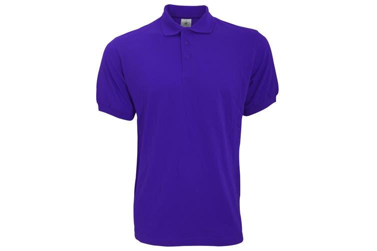 B&C Safran Mens Polo Shirt / Mens Short Sleeve Polo Shirts (Purple) (XL)