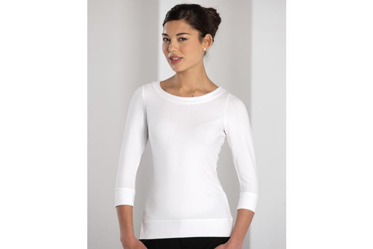 Russell Collection Ladies 3/4 Sleeve Strech Top (White) (4XL)