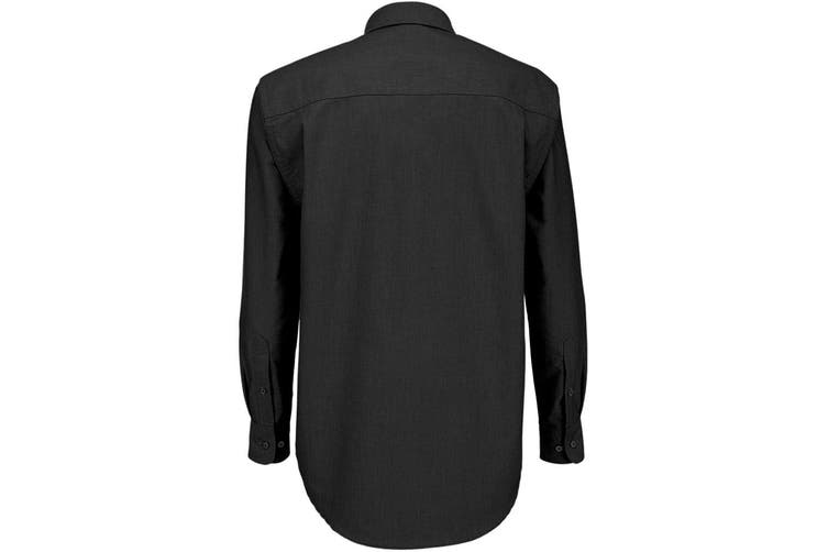 B&C Mens Oxford Long Sleeve Shirt / Mens Shirts (Black) (S)