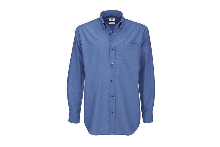 B&C Mens Oxford Long Sleeve Shirt / Mens Shirts (Blue Chip) (M)