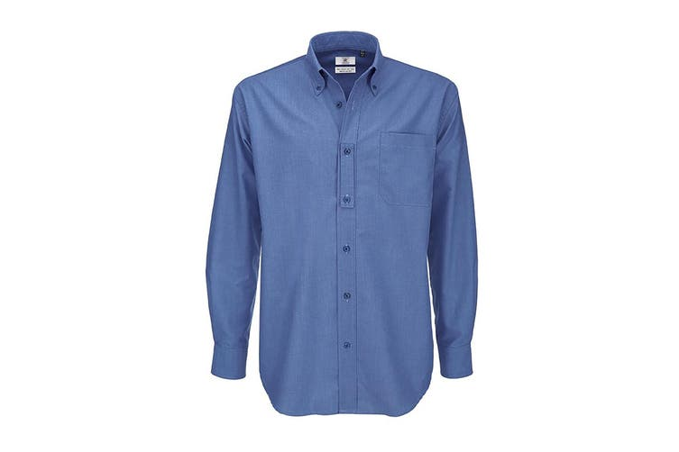 B&C Mens Oxford Long Sleeve Shirt / Mens Shirts (Blue Chip) (XL)
