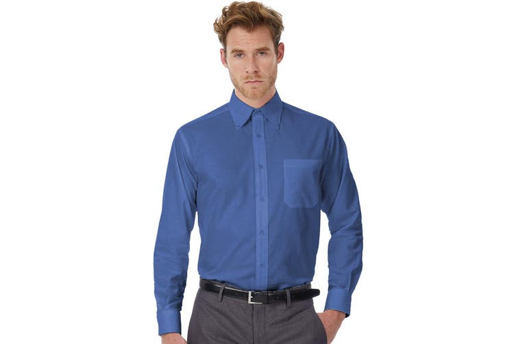 B&C Mens Oxford Long Sleeve Shirt / Mens Shirts (Blue Chip) (6XL)