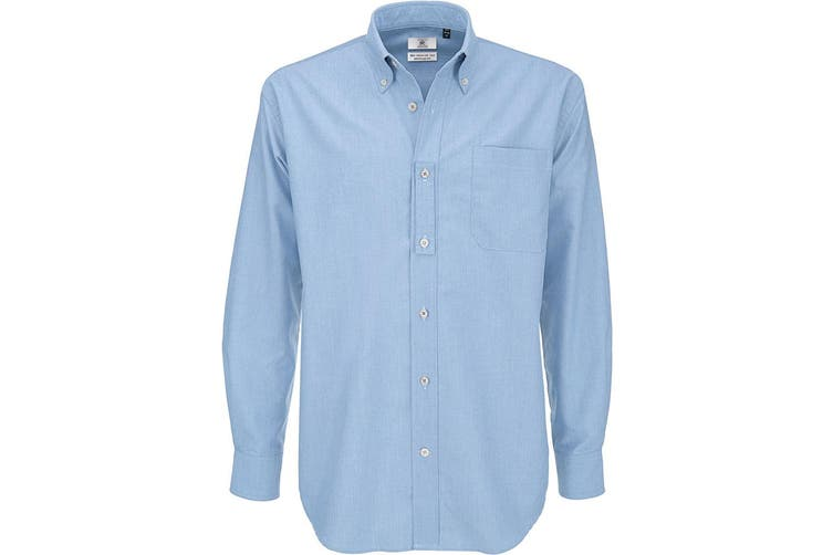 B&C Mens Oxford Long Sleeve Shirt / Mens Shirts (Oxford Blue) (S)