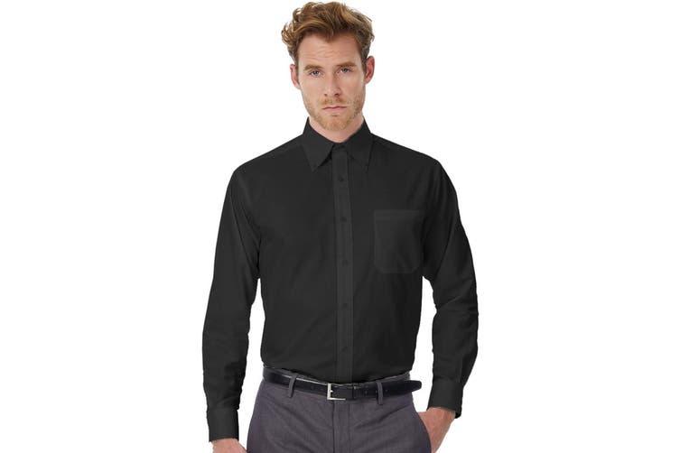 B&C Mens Oxford Long Sleeve Shirt / Mens Shirts (Black) (M)