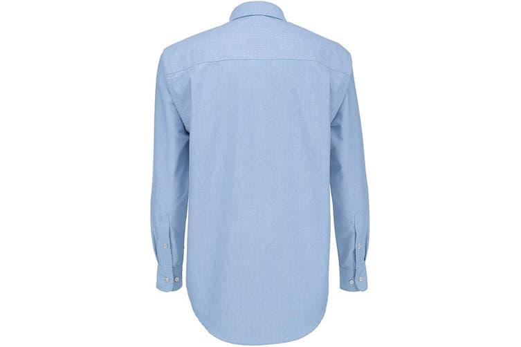 B&C Mens Oxford Long Sleeve Shirt / Mens Shirts (Oxford Blue) (XL)