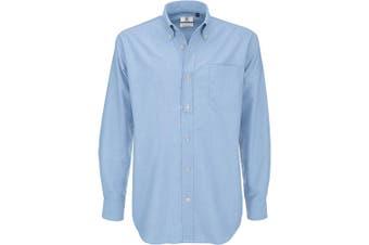 B&C Mens Oxford Long Sleeve Shirt / Mens Shirts (Oxford Blue) (3XL)