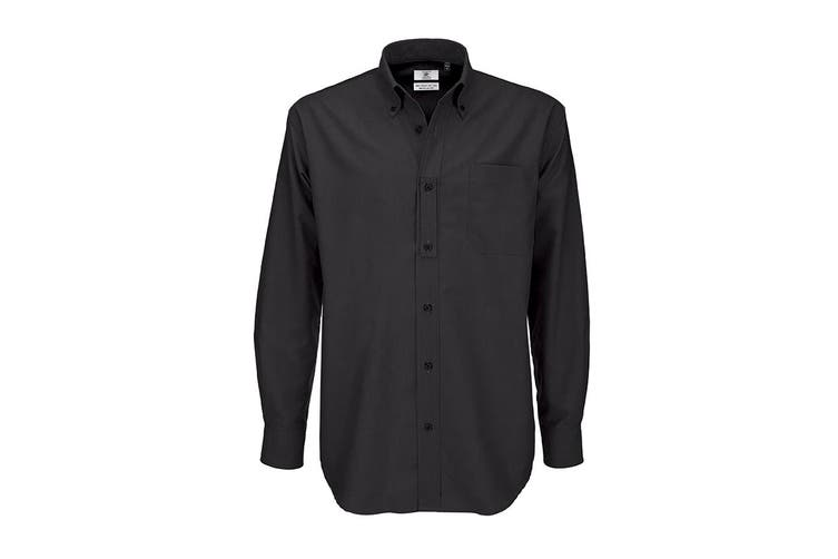 B&C Mens Oxford Long Sleeve Shirt / Mens Shirts (Black) (L)