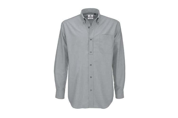 B&C Mens Oxford Long Sleeve Shirt / Mens Shirts (Silver Moon) (4XL)