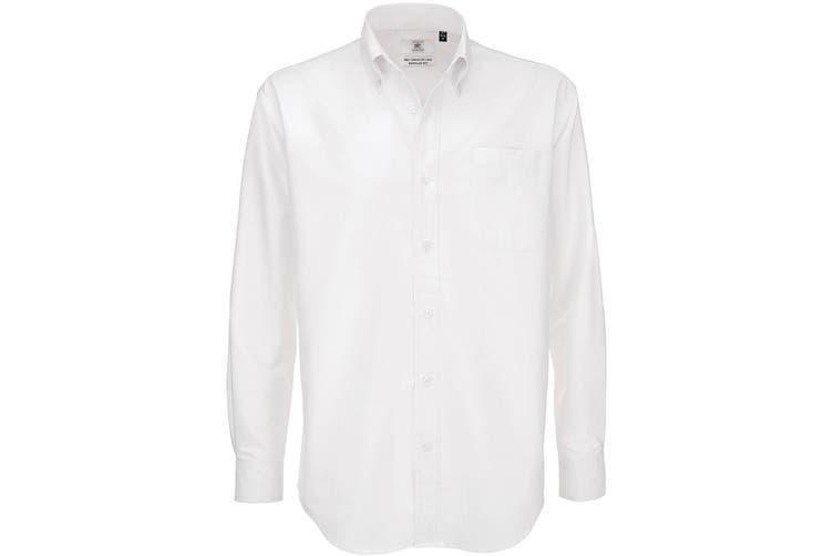B&C Mens Oxford Long Sleeve Shirt / Mens Shirts (White) (S)